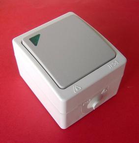 Interrupteur ou va et vient simple série AKYA étanche 10A 220V coloris gris clair avec voyant témoin d'allumage - Gedimat.fr