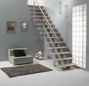 escalier droit montana en bois pin haut 2 75m sans rampe finition brut. Black Bedroom Furniture Sets. Home Design Ideas