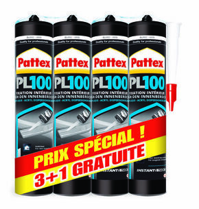 Colle multi-usages acrylique PATTEX PL100 lot de 3 cartouches + 1 gratuite - Gedimat.fr