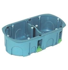 Boîte d'encastrement 2 postes pour cloison creuse diam.67mm prof.40mm coloris gris - Gedimat.fr