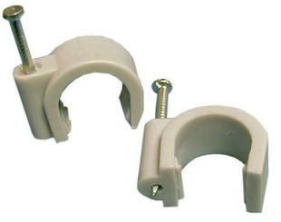 Attache cavalier à clouer pour câble rond diam.7mm coloris gris sous boîte de 100 pièces - Gedimat.fr