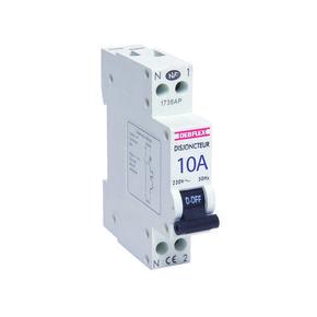 Disjoncteur électrique modulaire phase + neutre 220V 10A - Gedimat.fr