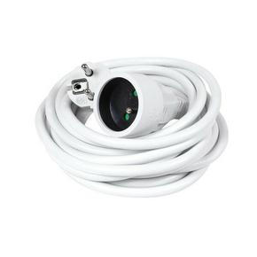 Rallonge prolongateur électrique mâle femelle 2 pôles + terre 16A avec cordon d'alimentation rond coloris blanc câble H05VVF 3G1,5mm² long.5m sur plaquette de 1 pièce - Gedimat.fr