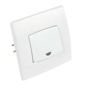 Poussoir simple à voyant série PERFECT 6A coloris blanc mat sous film de 1 pièce - Gedimat.fr