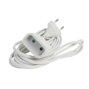 Rallonge prolongateur électrique mâle femelle 2 pôles 6A avec cordon d'alimentation plat coloris blanc câble H03VVH2-F 2x0,75mm² long.3m sur plaquette de 1 pièce - Gedimat.fr