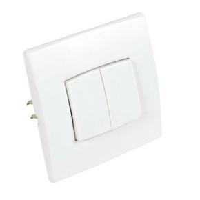 Interrupteur ou va et vient double série PERFECT 6A coloris blanc mat sous film de 1 pièce - Gedimat.fr