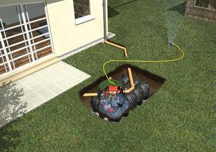 Kit de récupération d'eau de pluie à enterrer KIT JARDIN PLATINE CONFORT cuve 5000L - Gedimat.fr