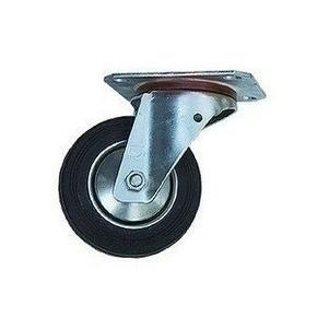 Roulette pivotante caoutchouc noir sur pivot diam.100mm en vrac de 1 pièce - Gedimat.fr