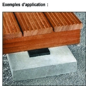 Tampon d'isolation lambourde de terrasse bois 10x10cm ép.8mm - Gedimat.fr