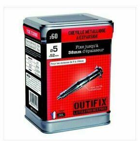 Cheville métallique à expansion D.5x52mm+vis TR D.5x60mm - boite de 60 pièces - Gedimat.fr