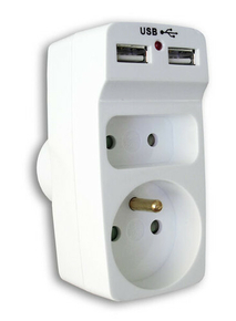 Prise électrique biplite 10 et 16A avec prise USB coloris blanc sous coque - Gedimat.fr