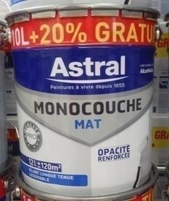 Peinture acrylique murale ASTRAL MONOCOUCHE aspect mat pot de 10L + 20% gratuit coloris blanc base white - Gedimat.fr