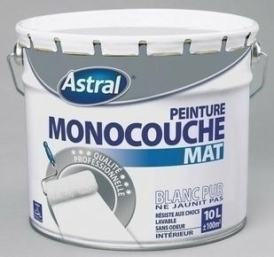 Peinture acrylique murale ASTRAL MONOCOUCHE coloris blanc base white aspect mat pot de 10L - Gedimat.fr