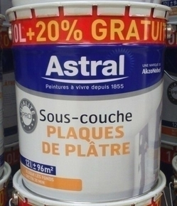 Sous-couche plaque de platre qualité professionnelle ASTRAL blanc 10L + 20% - Gedimat.fr