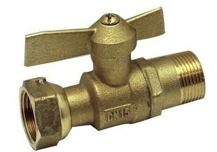 Vanne à sphère droite pour compteur d'eau entrée diam.20x27mm sortie diam.20x27mm avec lien 1 pièce - Gedimat.fr