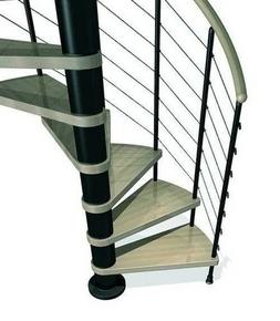 Escalier hélicoïdal KLOE acier/bois diam.1,20m haut.2,53/3,06m finition noir/bois clair - Gedimat.fr