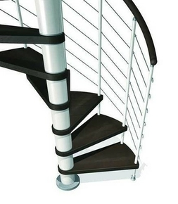 Escalier hélicoïdal KLOE acier/bois diam.1,40m haut.2,53/3,06m finition blanc/bois foncé - Gedimat.fr