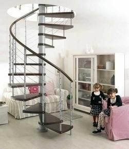 Escalier hélicoïdal KLOE acier/bois diam.1,40m haut.2,53/3,06m finition gris/bois foncé - Gedimat.fr