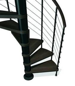 Escalier hélicoïdal KLOE acier/bois diam.1,20m haut.2,53/3,06m finition noir/bois foncé - Gedimat.fr
