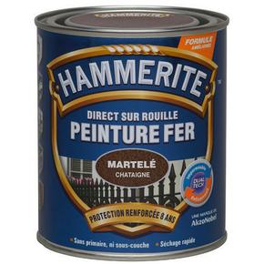 Peinture décorative antirouille CORONA HAMMERITE aspect martelé coloris chataigne 0,75L - Gedimat.fr