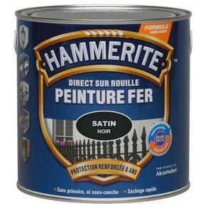 Peinture décorative antirouille CORONA HAMMERITE aspect martelé coloris noir 2,5L - Gedimat.fr