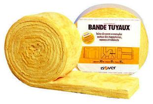 Bande de laine de verre pour Tuyau - 15x0,15m Ep.30mm - R=0,80m².K/W. - Gedimat.fr