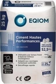 Ciment gris EQIOM HAUTES PERFORMANCES CEM I CE NF 52,5 sac 25kg - Gedimat.fr