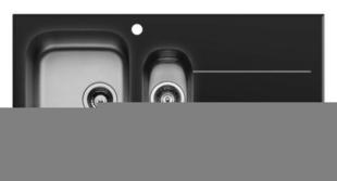 Evier à encastrer CONCERTO inox 1 cuve 1/2 + 1 égouttoir larg.50cm long.100cm verre trempé noir - Gedimat.fr