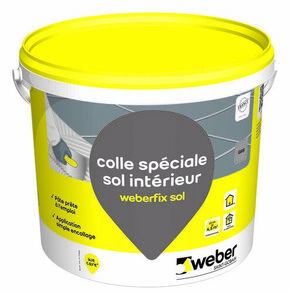 Mortier colle weber fix sol seau 25kg gris for Colle carrelage weber