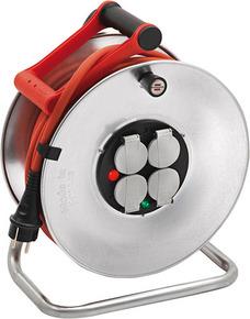Enrouleur prolongateur SILVER avec cable de 25m 4 prises + disjoncteur thermique - Gedimat.fr