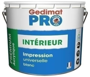 Impression acrylique opacifiante GEDIMAT certifié Ecolabel pot de 10L blanc - Gedimat.fr
