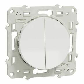 Interrupteur double va et vient encastré à composer Odace connexion rapide à vis blanc - Gedimat.fr