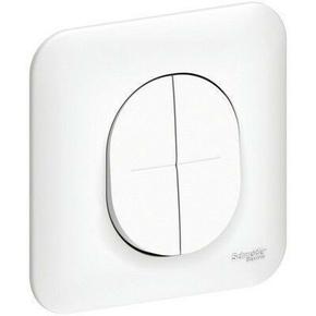 Interrupteur double va et vient encastré mono référence Ovalis blanc - Gedimat.fr