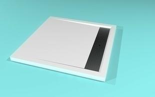 Receveur carré à poser AVORIAZ en solid surface haut.4,5cm larg.90cm long.90cm blanc - Gedimat.fr
