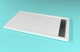 Receveur rectangulaire à poser AVORIAZ en solid surface haut.4,5cm larg.80cm long.140cm blanc - Gedimat.fr