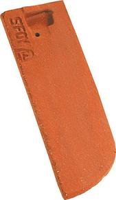Demi-tuile plate PLATE ECAILLE PRESSEE 17x27 gauche coloris terre de Beauce - Gedimat.fr