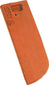 Demi-tuile plate PLATE ECAILLE PRESSEE 17x27 gauche coloris rouge nuance - Gedimat.fr
