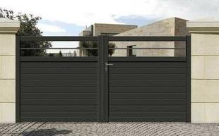 portail battant esquif en aluminium haut 1 50m piliers 3 58m gris. Black Bedroom Furniture Sets. Home Design Ideas