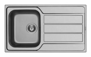 Evier à encastrer ATHENA inox 1 cuve + 1 égouttoir larg.86cm long.50cm anti-rayures - Gedimat.fr