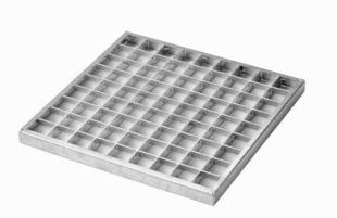 Grille caillebotis acier à emboitement GRE 30 int.28,7x28,7/ext.32x32cm pour regard RM30 int.30x30/ext.36x36 - Gedimat.fr