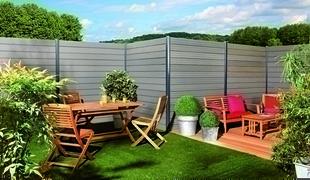 lame en bois composite pour cl ture couleur ardoise. Black Bedroom Furniture Sets. Home Design Ideas