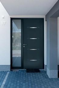 Porte d'entrée PANTHERE en acier gauche poussant haut.2,15m larg.90cm laqué gris  - Gedimat.fr
