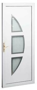 Porte d'entrée LAMBDA 3 en PVC droite poussant haut.2,00m larg.90cm blanc - Gedimat.fr