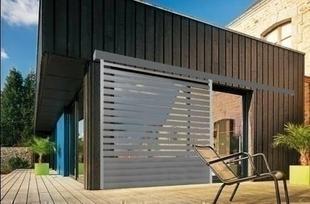 Brise soleil vertical en aluminium thermolaqué gris 7016 sablé Haut.2,25m larg.1,40m - Gedimat.fr