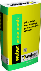 Béton de maçonnerie ultra-rapide sans malaxage WEBER BETON NOMIX sac de 25kg - Gedimat.fr