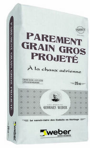 Enduit de parement minéral manuel épais à la chaux aérienne WEBER.CAL PG sac 25 kg Pierre claire teinte 015 - Gedimat.fr