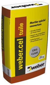 Mortier spéciale couverture hydrofugé WEBER.CEL TUILE sac de 25kg teinte gris clair - Gedimat.fr