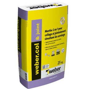 Mortier-colle WEBER.COL & JOINT sac 25kg blanc pur - Gedimat.fr