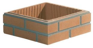 Elément de pilier ASPECT BRIQUE joints finis 29x29cm haut.13,3cm brique unie - Gedimat.fr