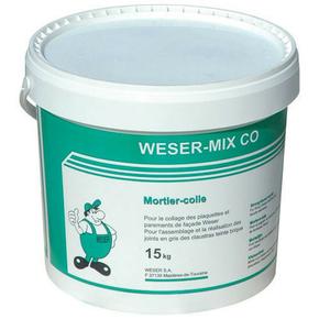 Mortier colle WESER MIX CO seau de 15kg gris - Gedimat.fr
